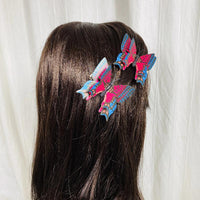 Red Blue Butterfly Hair Clips (2 pcs/set) Style O - PEGlala.com