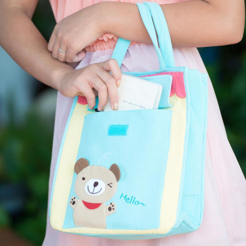 Cartoon Tote with Front Pocket - Bear (Blue)-Bag-PEGlala-PEGlala.com