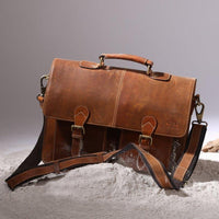 Genuine Buffalo Leather Convertible Satchel Briefcase (16 Inch)-Bag-Rustic Town-PEGlala.com