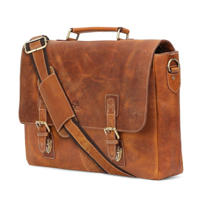 Genuine Buffalo Leather Convertible Satchel Briefcase (Brown)-Bag-Rustic Town-PEGlala.com
