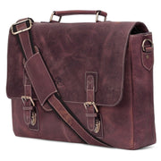 Genuine Buffalo Leather Convertible Satchel Briefcase (Dark Brown)-Bag-Rustic Town-PEGlala.com