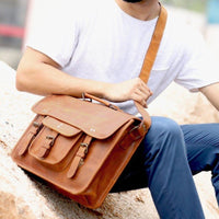 Genuine Buffalo Leather Vintage Rustic Crossbody Bag-Bag-Rustic Town-PEGlala.com