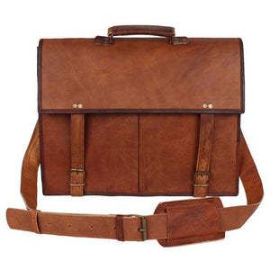 Genuine Goat Leather Satchel Briefcase-Bag-Rustic Town-PEGlala.com