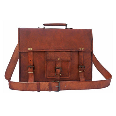 Genuine Goat Leather Vintage Rustic Crossbody Briefcase Bag-Bag-Rustic Town-15 Inch Brown-PEGlala.com