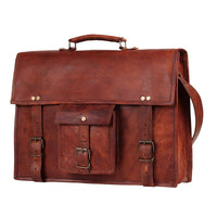 Genuine Goat Leather Vintage Rustic Crossbody Briefcase Bag-Bag-Rustic Town-16 Inch Brown-PEGlala.com