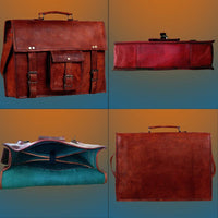 Genuine Goat Leather Vintage Rustic Crossbody Briefcase Bag-Bag-Rustic Town-PEGlala.com