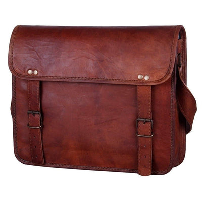 Genuine Goat Leather Vintage Rustic Crossbody Satchel Bag-Bag-Rustic Town-13 Inch Brown-PEGlala.com