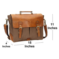 Genuine Leather Canvas Satchel Briefcase-Bag-Rustic Town-PEGlala.com