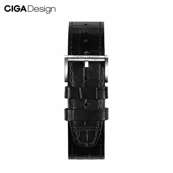 CIGA Design Gloss Leather Watch Strap Quick Release Black 22mm