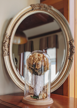 Load image into Gallery viewer, Large Wedding Flower Bouquet Glass Dome Display wood base keepsake