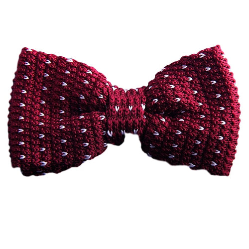 Red Knitted Polka Dot Bow Tie