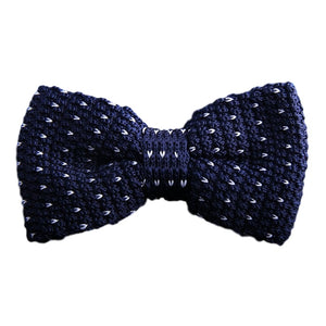 Dark Blue Knitted Polka Dot Bow Tie