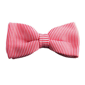 Pink Knitted Striped Bow Tie