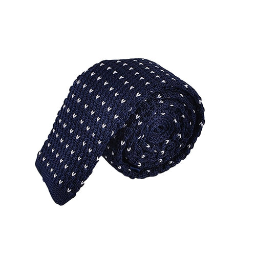 Blue Polka Knitted Necktie White Tie