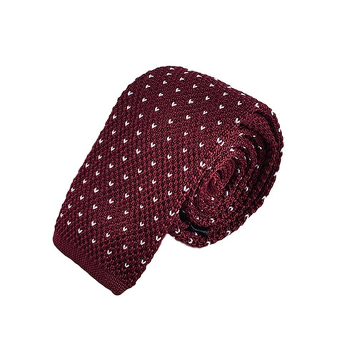 Red Polka Knitted Necktie White Tie
