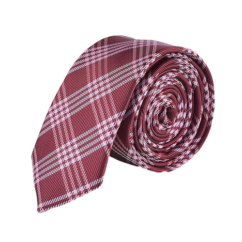 Red Striped Plaid Tie Necktie