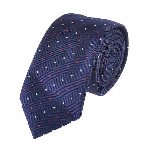 Blue Polka Dot Red White Tie Necktie