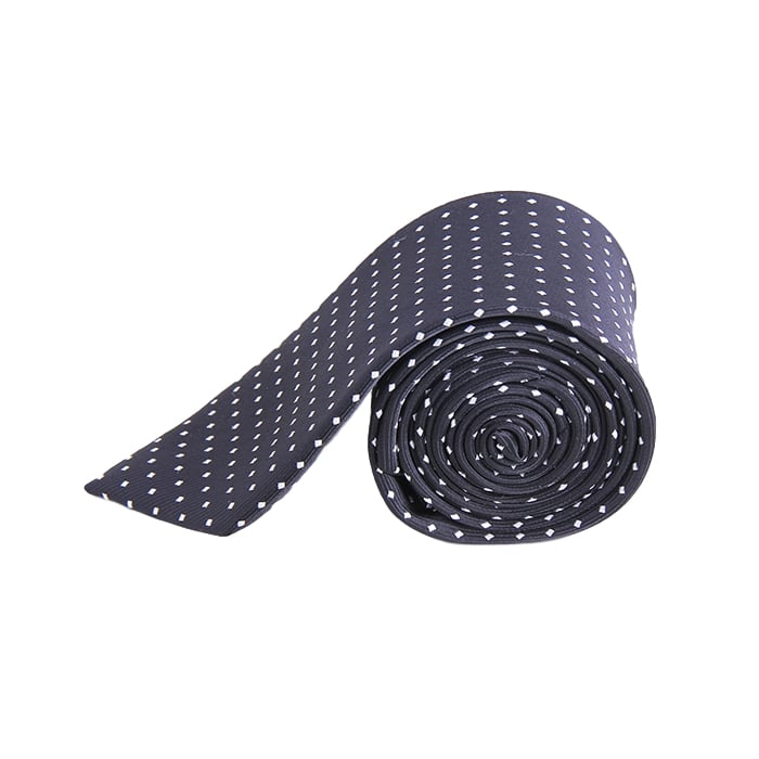 Dark Gray Grey Polka Tie Necktie