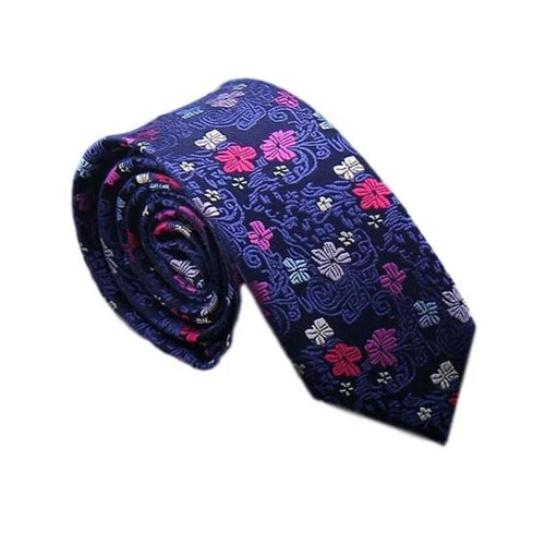 Flower Silk Tie Blue Red Pink Necktie
