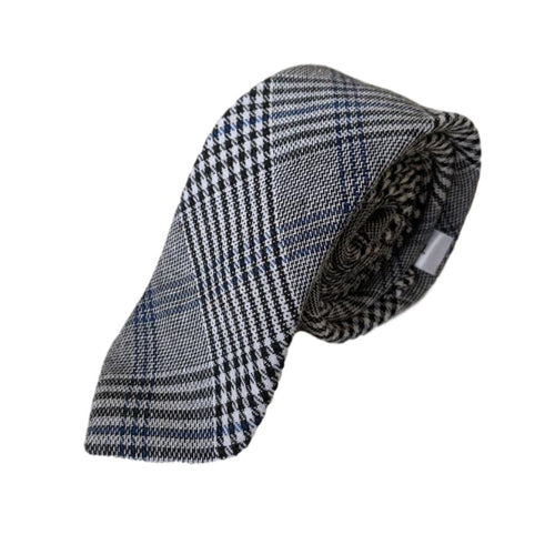 Black White Blue Navy plaid tie