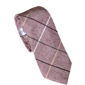 Cotton Plaid Tie Necktie Lines Light Burgundy