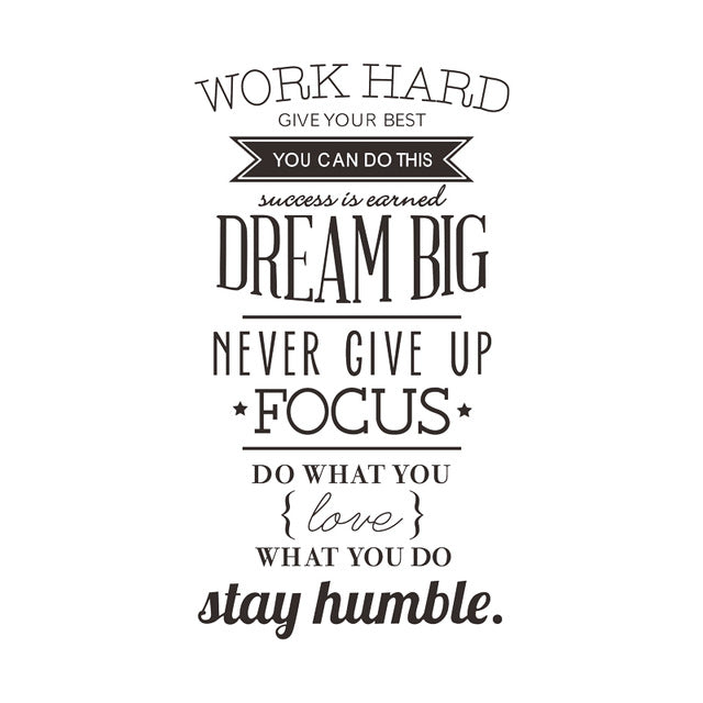 Work Hard Dream Big Never Give Up Wall Mural Decal Canvascorecom