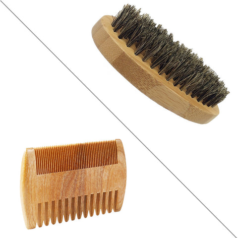 High Quality Beard Grooming Kit Natural Boar Bristle Beard Brush and Wooden Handmade Comb for Male