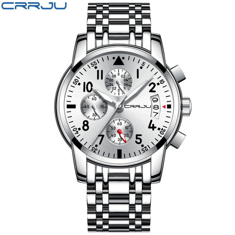 CRRJU Sport Watch Men Quartz Military Casual Watches Men's Chronograph Wristwatch Army Waterproof Clock Men Full Steel Hour