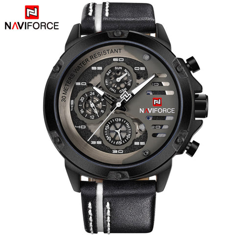 NAVIFORCE Mens Watches Top Brand Luxury Waterproof 24 hour Date Quartz Watch Man Leather Sport Wrist Watch Men Drop Shipping