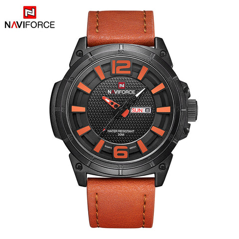 NAVIFORCE Luxury Men Quartz Military Watch Man Fashion Casual Waterproof Sport Watches Male Leather Date Clock