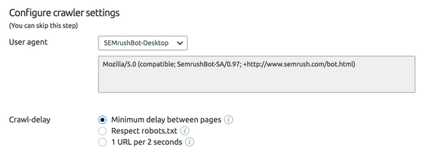 SEMrush crawl speed settings
