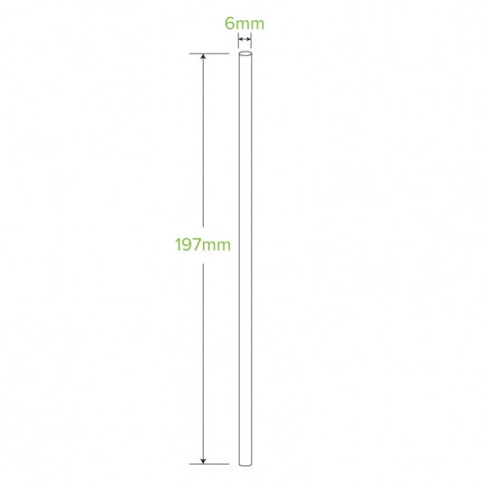 6MM WHITE REGULAR STRAWS - 50PK
