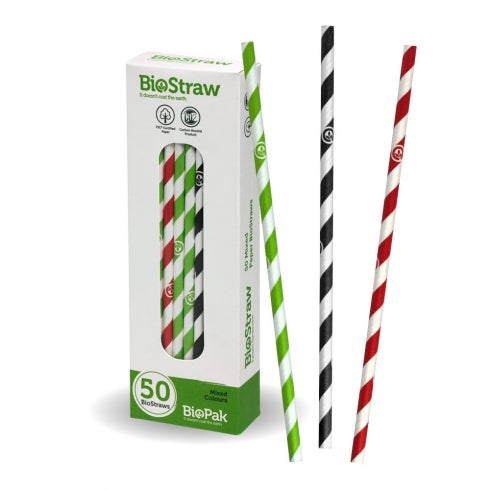 6MM MIXED REGULAR STRAWS - 50PK
