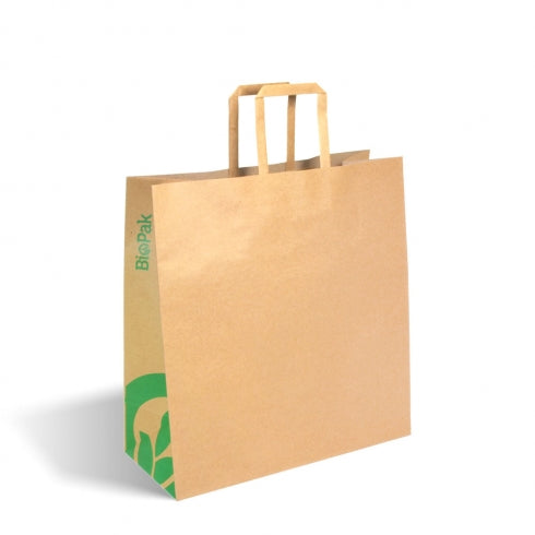 MEDIUM FLAT HANDLE KRAFT PAPER BAGS