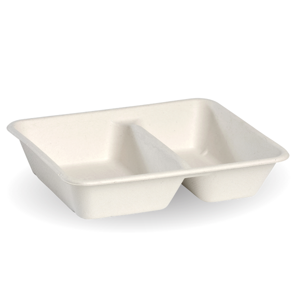 2 Compartment White BioCane Takeaway Base