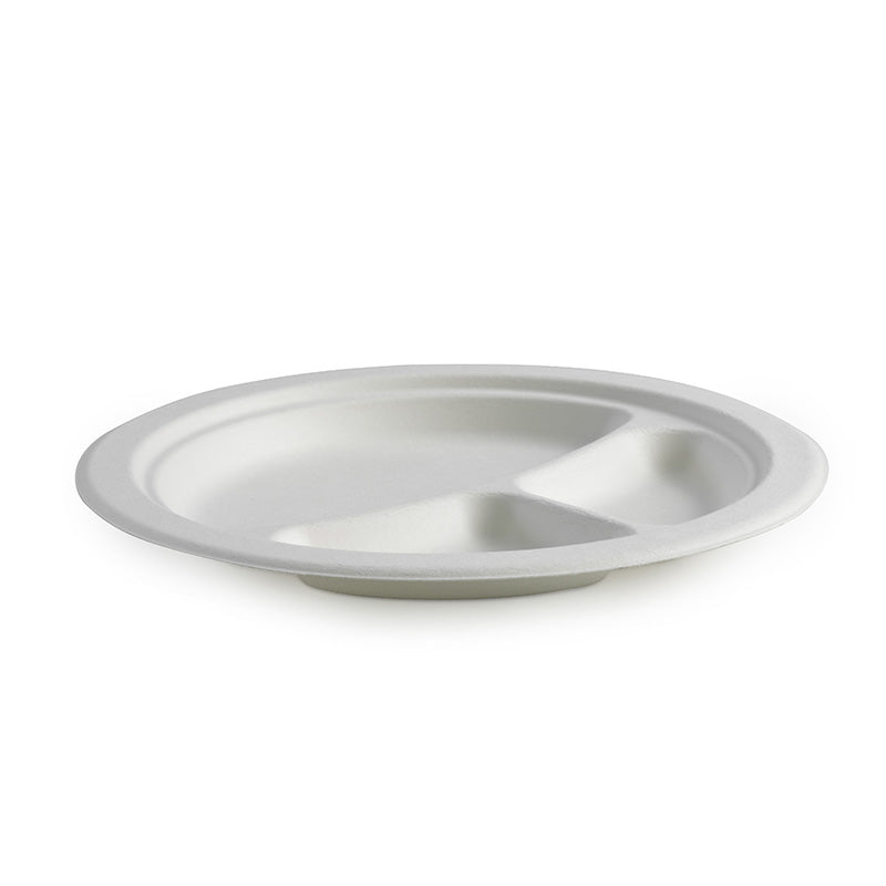"9"" 3-Compartment Round BioCane Plate"