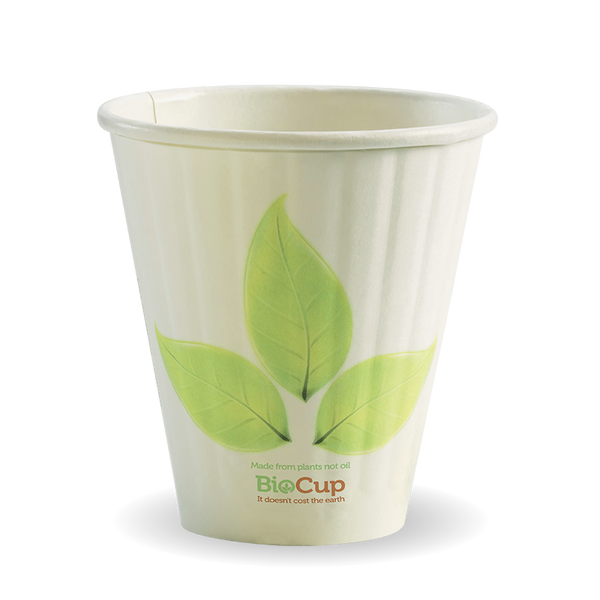 8oz (90mm) Double Wall Green Leaf BioCup