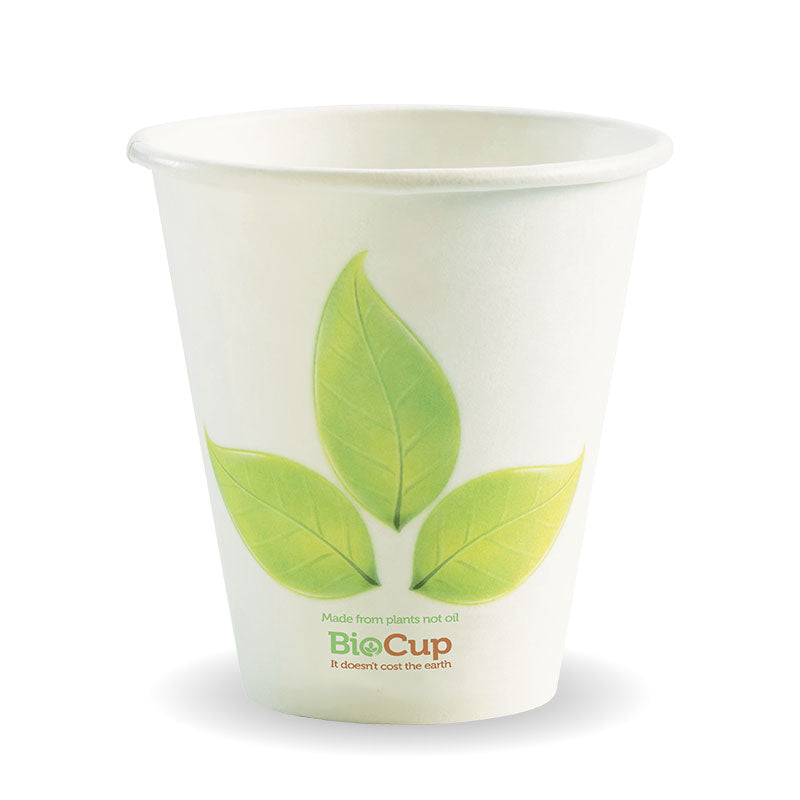 8oz (90mm) Single Wall Green Leaf BioCup