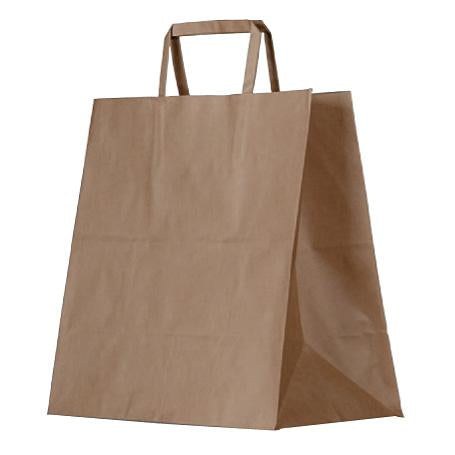 Brown kraft bag / flat paper handle / large