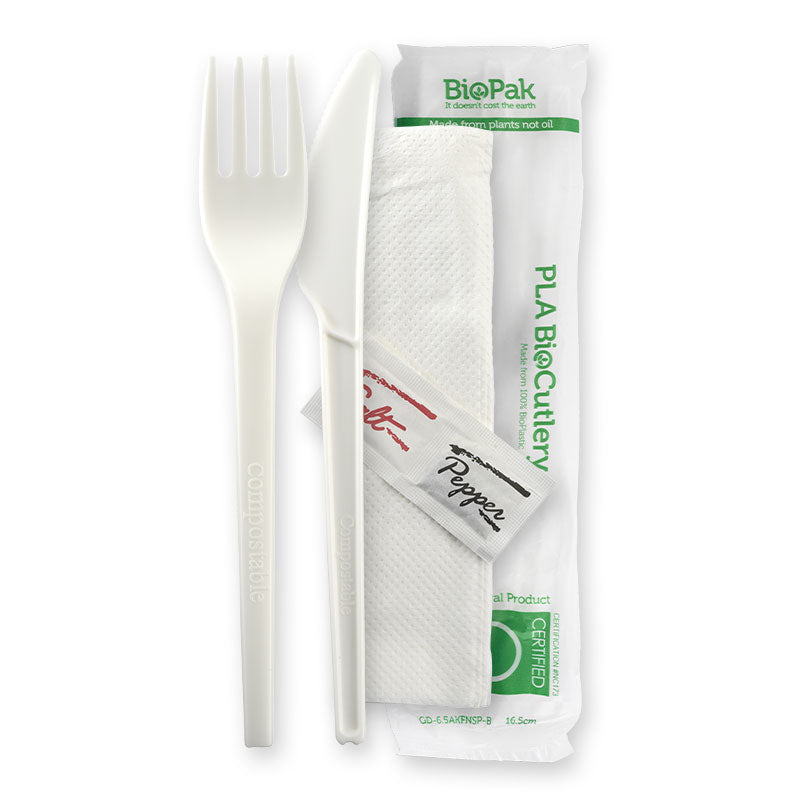 "6.5"" PLA Knife, Fork, Napkin, Salt & Pepper Set"