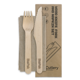 16cm Coated Wood Knife,Fork & napkin Set