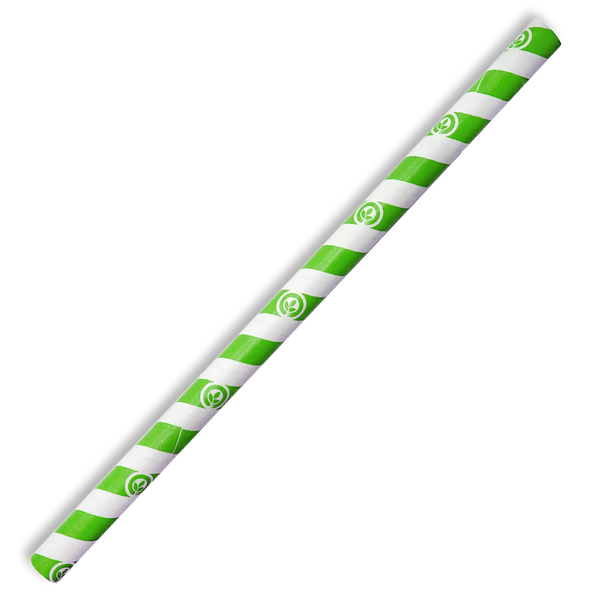 10mm Jumbo Green Stripe BioStraw