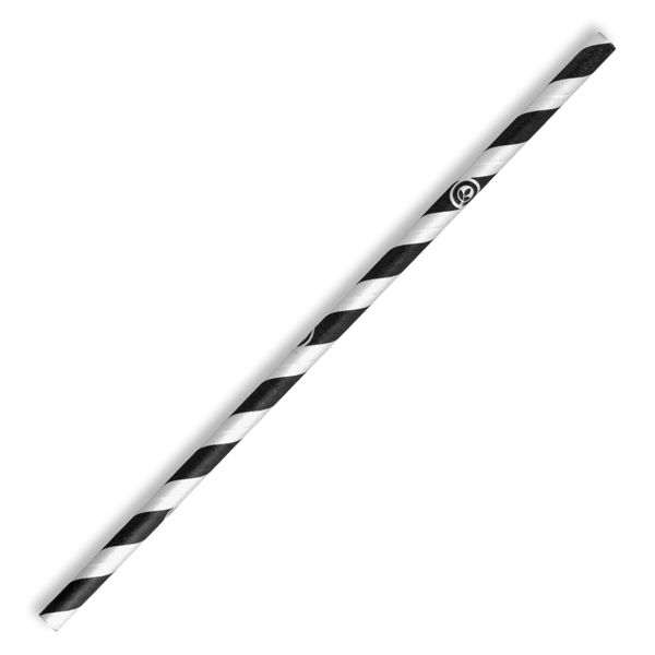 6mm Regular Black Stripe BioStraw