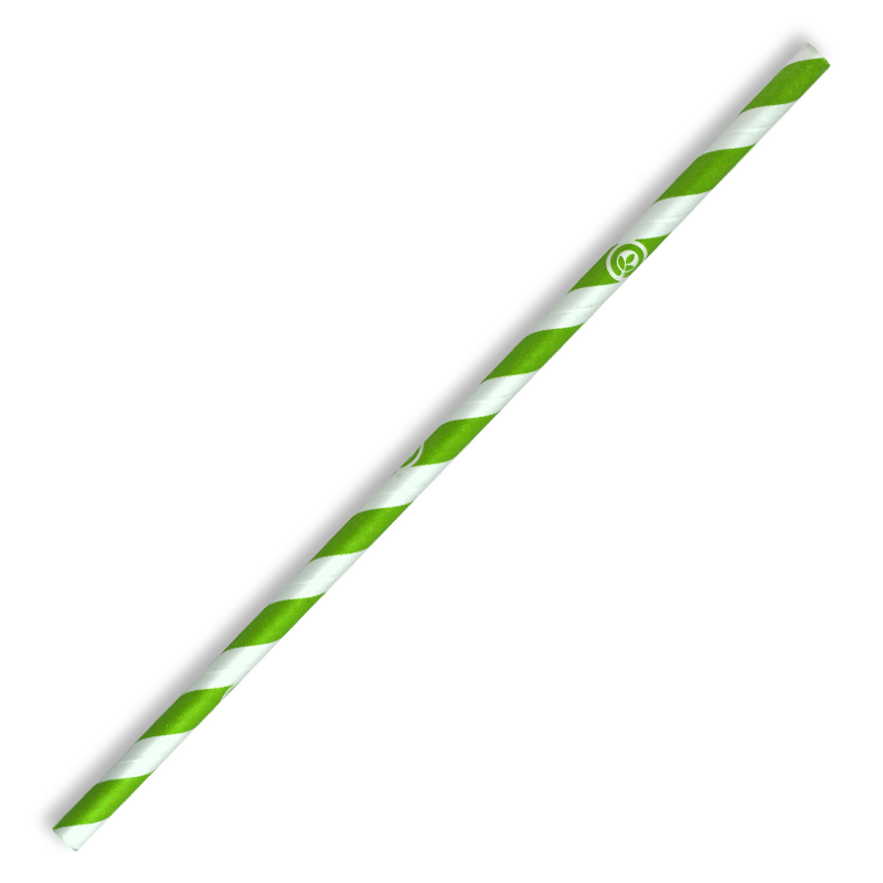 6mm Regular Green Stripe BioStraw