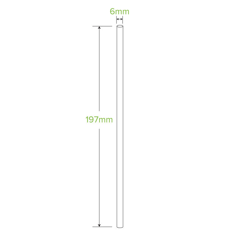 6mm Regular White Bendy Biostraw- Individual Wrapped