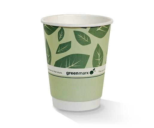 12oz PLA coated Double Wall Cup / green print