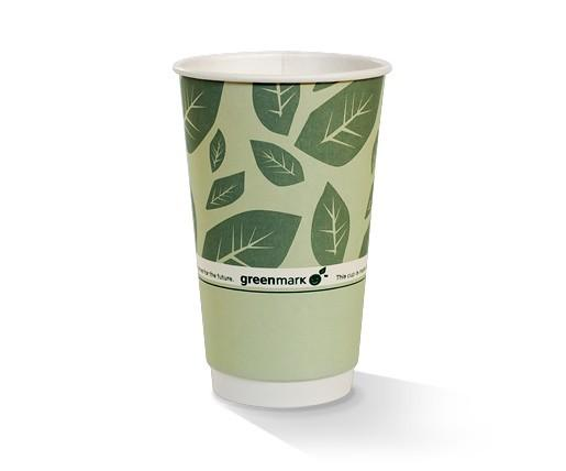 16oz PLA coated Double Wall Cup / green print