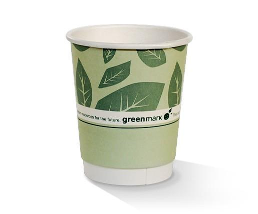 8oz PLA coated Double Wall Cup / green print