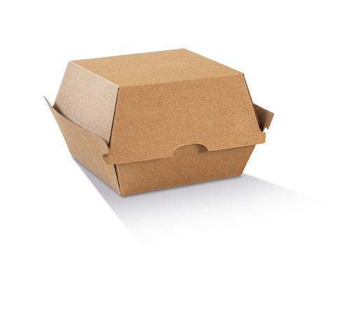 High Burger Box / Brown Corrugated Kraft / Plain