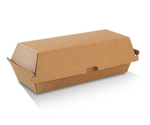 Hot Dog Box / Brown Corrugated Kraft / Plain